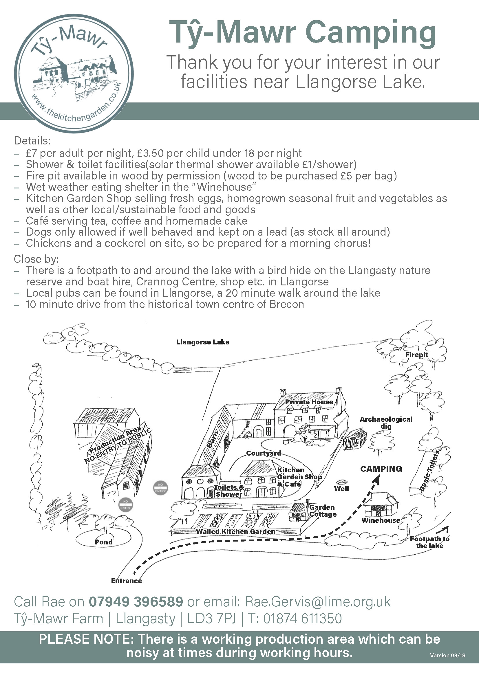Map of Ty Mawrs Camp site