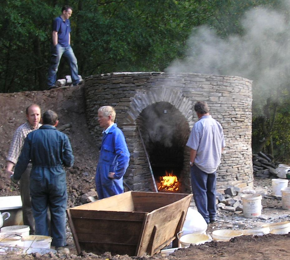 Reconstruction of a traditional C13th lime kiln at the Museum of Welsh Life
